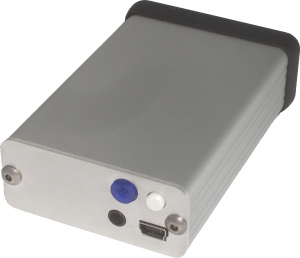 XM5 Portable Headphone Amp, rear, with variable crossfeed adjuster, source selector, power jack, and USB port